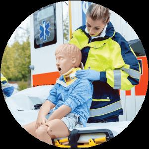 Child Crisis simulation in healthcare emergency care manikin